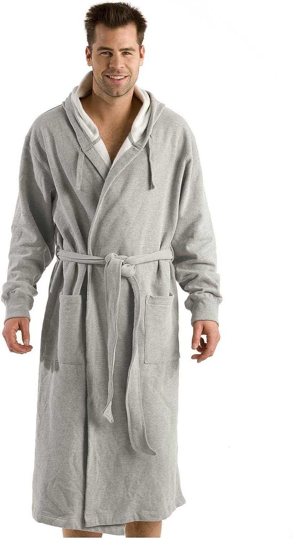 BY LORA Hooded Bathrobe Sweatshirt Robe for Unisex Adult, Men Women, Gray,OS Size