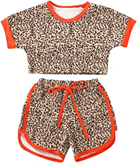 mettime Baby Girls Cotton Leopard Short Sleeve T-Shirt Top & Short Pants 2pcs Kids Girls Outfits 6 Months - 4 Years Clothe...