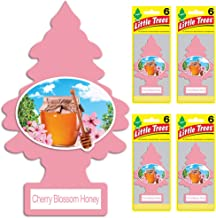 LITTLE TREES Car Air Freshener | Hanging Tree Provides Long Lasting Scent for Auto or Home | Cherry Blossom Honey, 6-Packs (4 Count)