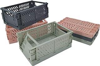 Lot de 3 boîtes de rangement pliables et robustes en plastique pour camping (Rose, L)