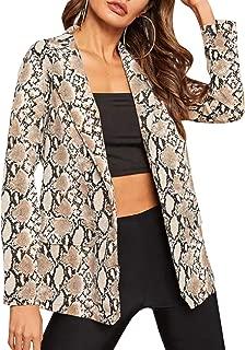 Women's Casual Lapel Collar Snake Skin Print Blazer Jacket Coat Open Front Long Sleeve Outwear