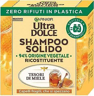 Garnier Ultra Dolce Shampoo Solido Tesori di Miele, Per Capelli Fragili che si Spezzano, Con packaging 100% ecologico plas...