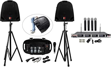 Rockville GB1 Portable Powered PA System W/Mixer+Speakers+Stands+Mic DJ Package