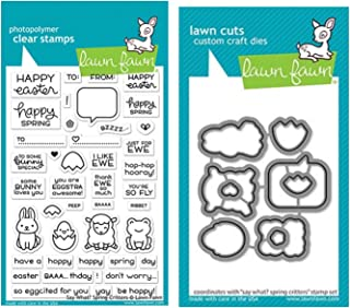 "Lawn Fawn Say What Spring Critters 4""x6"" Clear Stamp Set and Coordinating Custom Craft Die Set (LF2228, LF2229), Bundle of 2 Items"