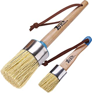 1st Place Products Large Round & Flat Brush Set - Excellent for Chalked Finish Paint & Waxes - Pure White Boar Hair Bristles