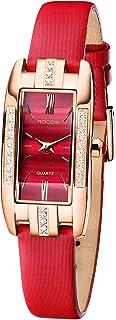 Reloj de Pulsera para Mujer de Cuarzo con Esfera Roja Precioso Mini Reloj Cuadrado para Mujer con Joyas