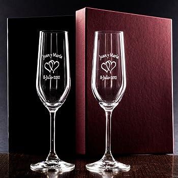 Elegantes copas de champán extra altas - juego de 2 con cristales de Swarovski - decoración - boda - aniversario - único: Amazon.es: Hogar