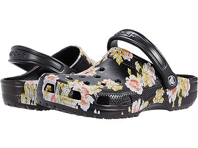 Crocs Classic Printed Floral Clog (Black/Floral) Women