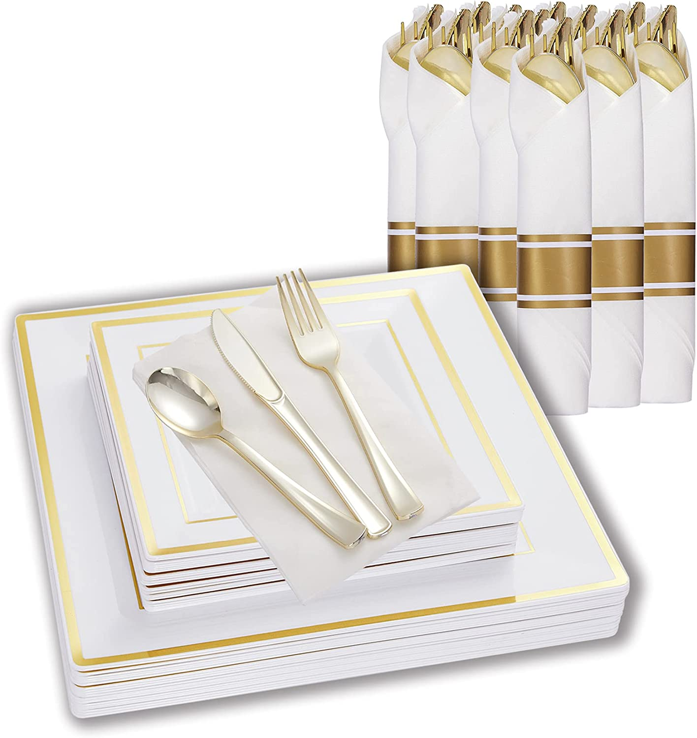 20 Guests 2021 autumn and winter new Square Plastic Plates Silverware and w shopping Disposable Per