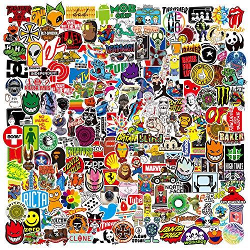 RGBEE Aufkleber 200 Stück, Wasserfeste Vinyl Sticker Set für Laptop, Koffer, Helm, Motorrad, Skateboard, Snowboard, Auto, Fahrrad, Computer, Graffiti und Kawaii Aufkleber Decals