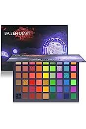 BAISEN DIARY 54 Colorful Eyeshadow Palette, Neon Shimmer Matte Glitter Eye Shadow Natural Naked Colors Makeup Eyeshadow Wa...
