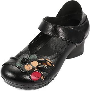 Socofy Chaussures de Ville Femme, Mary Jane en Cuir à Fleurs Escarpins Talon Moyen Sandales 36-42 - Noire Rouge (Grille de...