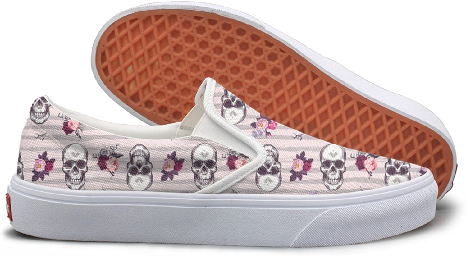 Hjkggd fgfds Casual Bueaty pinks with Skull Women's Canvas shoes