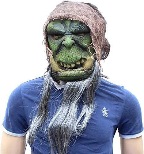 tienda de venta en línea FLy Nueva Halloween Halloween Halloween Warcraft Máscara verde Latex Material Horror Diverdeido Accesorio para La Cabeza Máscara  barato