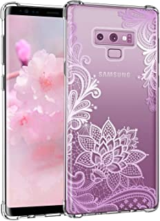 Casetego Compatible Galaxy Note 9 Case,Clear Soft Flexible TPU Case Rubber Silicone Skin with Flowers Floral Printed Back Cover for Samsung Galaxy Note 9-Purple Flower