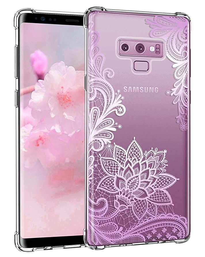 Casetego Compatible Galaxy Note 9 Case,Clear Soft Flexible TPU Case Rubber Silicone Skin with Flowers Floral Printed Back Cover for Samsung Galaxy Note 9-Purple Flower wxgntuv7098456