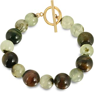 Art Jewelry Bracelet. Handmade One of a Kind Rhyolite and Prehnite Gemstones Bracelet