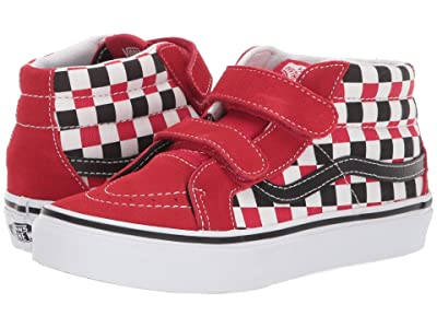 Vans Kids SK8-Mid Reissue V (Little Kid/Big Kid) ((Checkerboard) Black/Racing Red) Boys Shoes