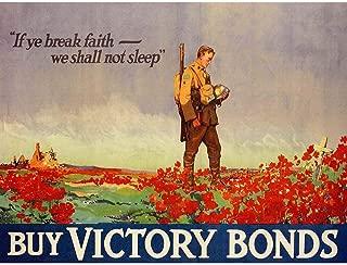 Wee Blue Coo Propaganda War WWI Canada Victory Bonds Poppy Flanders Grave Unframed Wall Art Print Poster Home Decor Premium