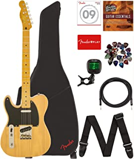 Fender Squier 0303029550, Classic Vibe Telecaster '50s Lefty - Butterscotch Blonde Bundle with Gig Bag, Tuner, Strap, Picks, Strings, Instrument Cable, and Austin Bazaar Instructional DVD