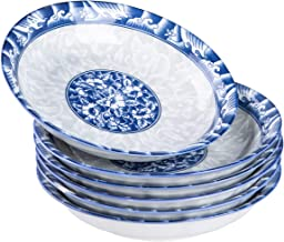 Cutiset 22 Ounce Porcelain Fruits/Salads/Soup Serving Bowls, Set of 6, Assorted Blue and White Patterns, Chinese Style, Shallow and Wide (8-Inch, Blue and White)