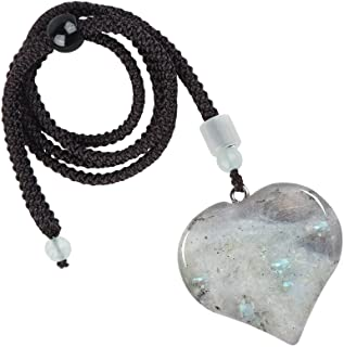 Yatming Healing Stone Love Heart Pendant for Women and Men, Handmade Crystal Heart Shape Necklace Jewelry with Rope