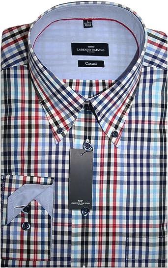 Lorenzo Calvino Milano camisa azul/rojo/blanco/negro cuadros ...