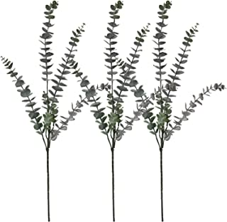 3 PCS Real Touch Leaf Artificial Eucalyptus Flowers Leaves Stems Spray Faux Plants Branches for Home Office Garden Wedding...