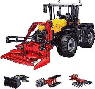 YOU339 2596Pcs 4 en 1 2.4G Tractor teledirigido de tierra verde motorizada, juego de modelos, piezas de construcción DIY, montaje de pequeñas partículas decorativas