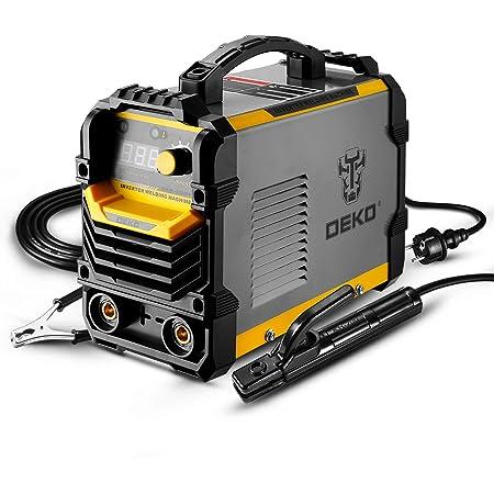 DEKO Soudeuse MMA 220 V, support d'électrode de Machine à souder ARC 200A, pince de travail, câble adaptateur d'alimentation d'entrée et brosse