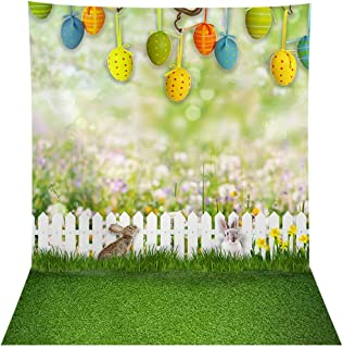 Allenjoy 8x10ft Spring Easter Floral Bokeh Backdrop Pictures Colorful Eggs Fence Grass Sunshine Wall Decor Photography Background Grassland Newborn Baby Shower Kids Photoshoot Banner Photo Booth Props