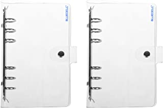 BCP 2pcs Transparent Soft PVC 6-Ring Binder Cover w/Snap Button Closure for Ring-Bound Planner Pages (A6)