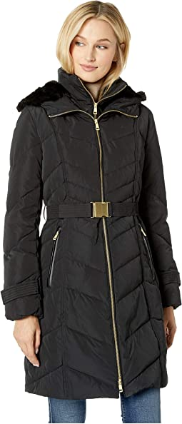 Belted Zip Front Down Jacket with Faux Fur Removable Hood