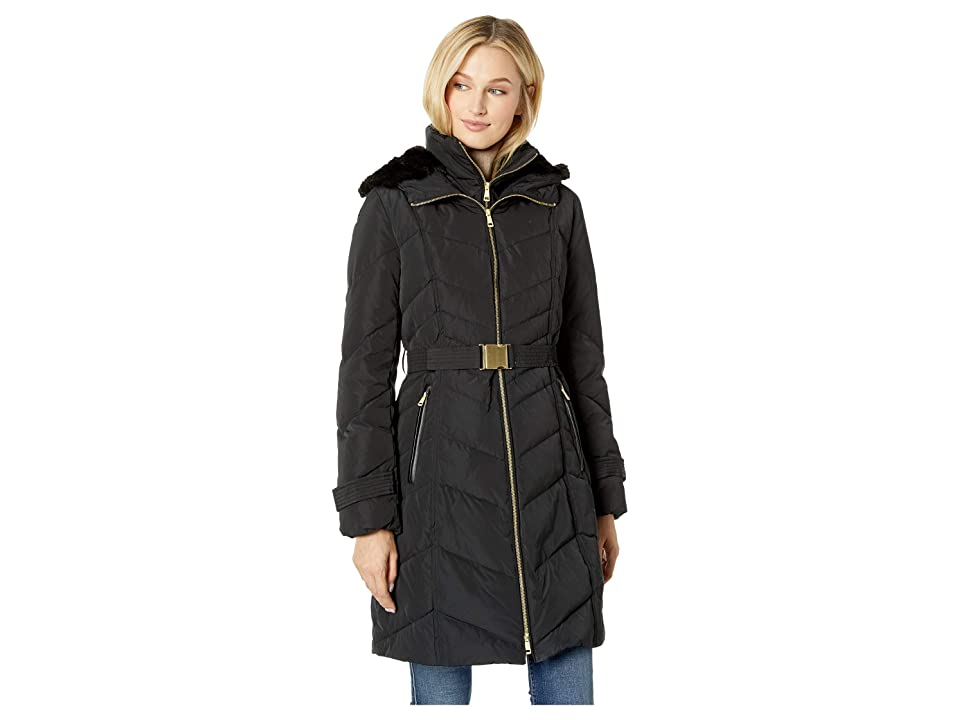 Cole Haan Belted Zip Front Down Jacket with Faux Fur Removable Hood (Black) Women