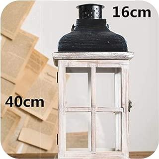 Wooden Retro Candlestick Decor Glass Lantern Tealight Candle Holders Table Centerpiece Et Photophore Glass Lantern BZT6,A