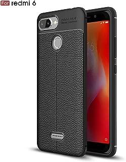 Redmi 6 Case, Xiaomi Redmi 6 Case, Cruzerlite Flexible Slim Case with Leather Texture Grip Pattern and Shock Absorption Cover for Xiaomi Redmi 6 (Black)