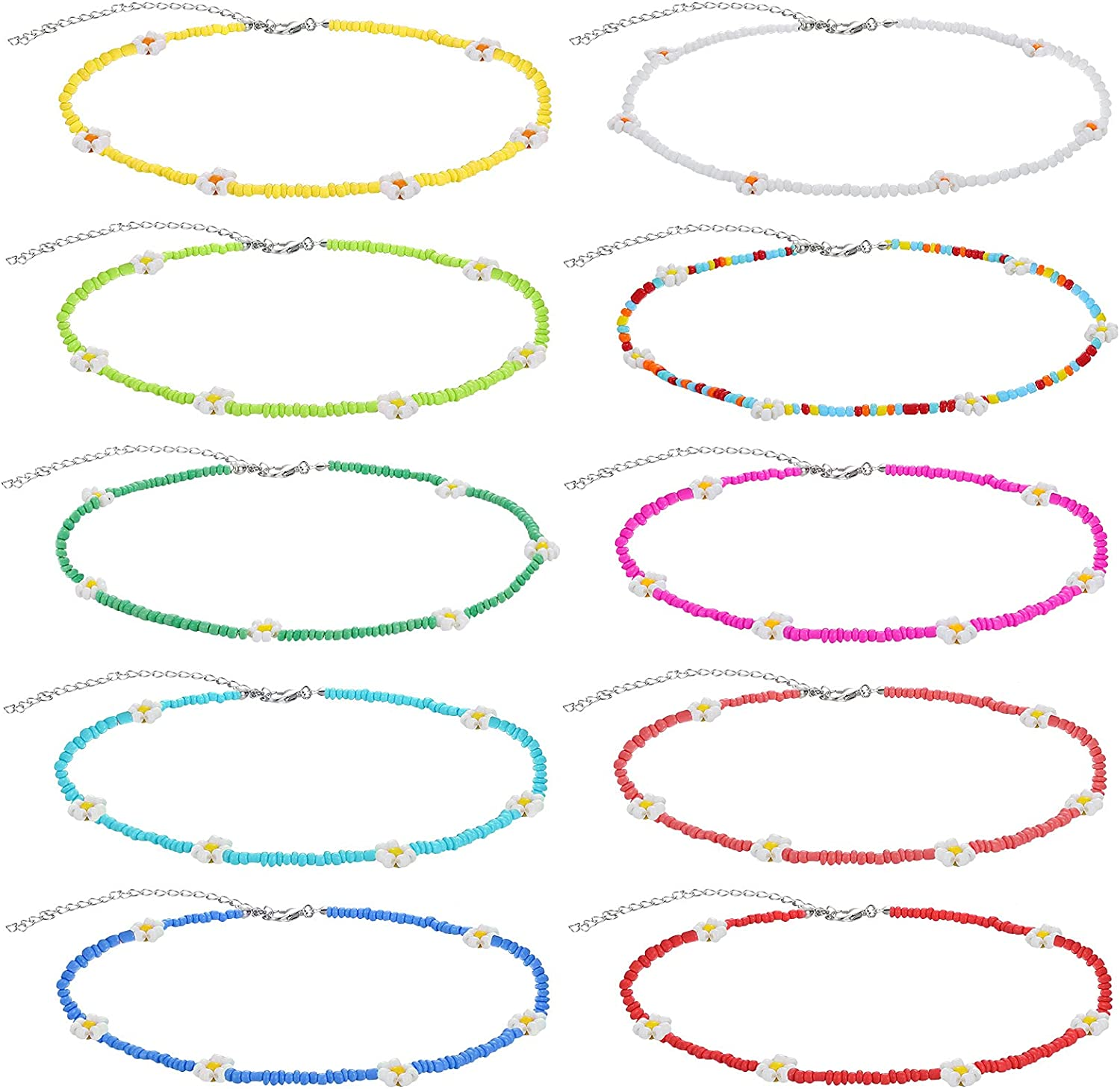 10 Pieces Daisy Boho Beaded Choker Necklace Bohemian Necklaces Seed Bead Necklaces Glass Beaded Choker Jewelry for Women and Girls