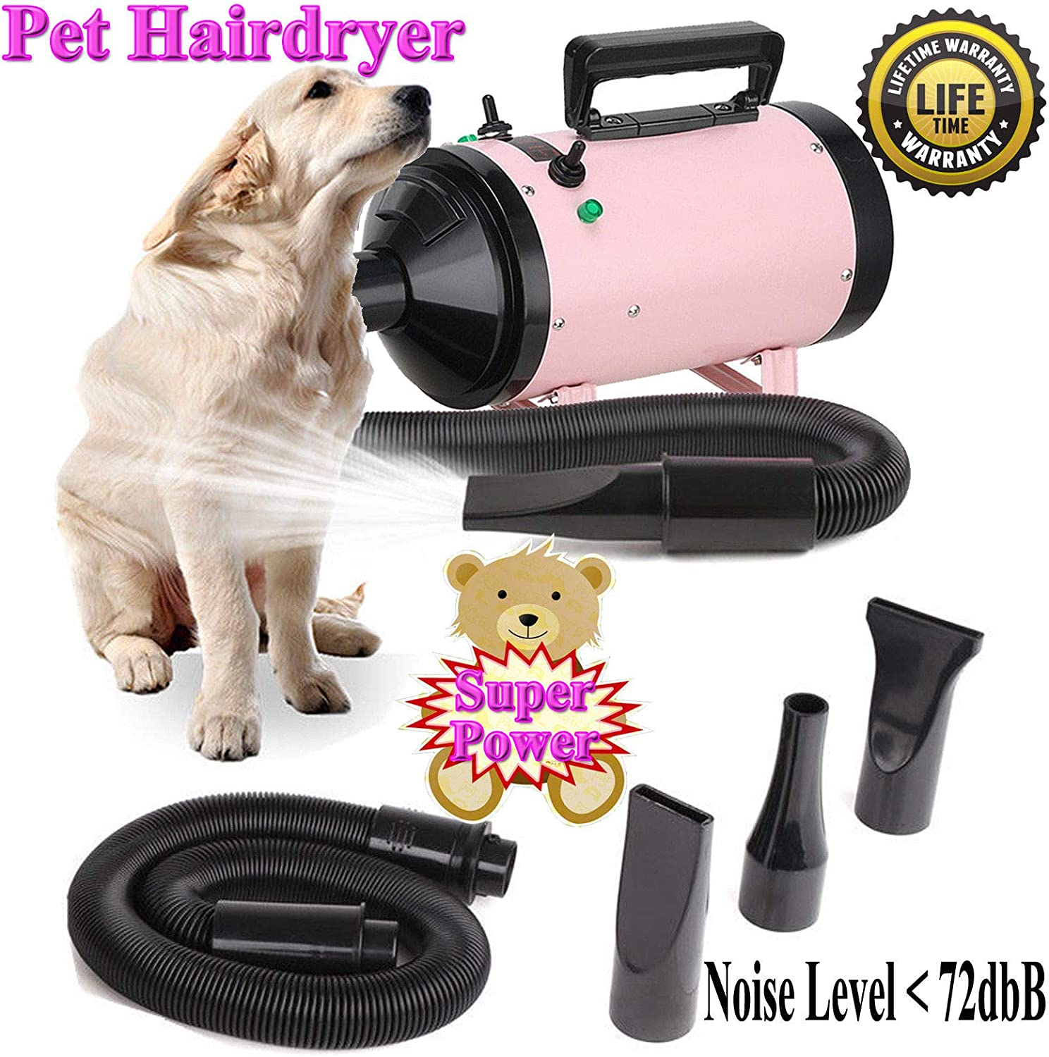 2800W Pet Dryer Hair Dog Cat Grooming Heater Blower Safety Dryer Blaster Low Noise 2.5M Flexible Hose with 3 Nozzles 2 Wind Speed All Season Use Pink