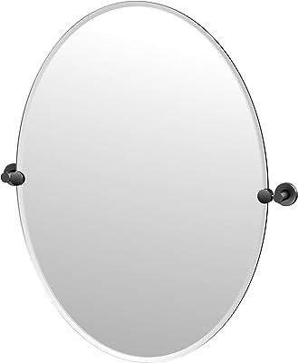 Gatco Glam Frameless Oval Mirror, 32 Inch, Matte Black