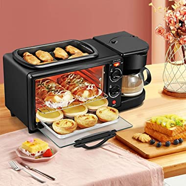 3 in 1 Breakfast Maker Station Hub 1050W 9L With(1050W 4 Cup Espresso Coffee Maker, Multi Function 9L Toaster Oven) Removable
