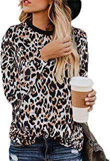 Women's Casual Leopard Print O-Neck Long Sleeve Pullovers Tops T-Shirts