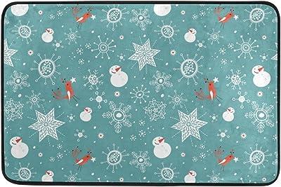 MASSIKOA Winter Snowman Snowflake Bird Non Slip Backing Entrance Doormat Floor Mat Rug Indoor Outdoor Front Door Bathroom Mats, 23.6 x 15.7 inches