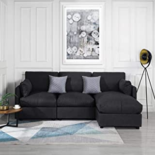 Grey Upholstered Linen Sectional Sofa Couch Modern L Shape Sectional, Sectional Sofas and Couches, Sofa Couch with Chaise, for Small/Large Living Spaces, Family Living Room Home Furniture Sectionals