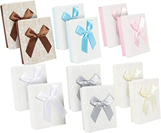 Small Gift Box Set - 12-Piece Cardboard Bows Jewelry Gift Box with Lids - Bridesmaid Gift Box for Anniversaries, Wedding, Birthday, Valentine's Day - 6 Colors, 3.6 x 1.1 x 2.7 Inches