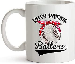 YouNique Designs Busy Raising Ballers Mug, 11 Ounces, Baseball Mom Coffee Mug, I Only Raise Ballers Cup