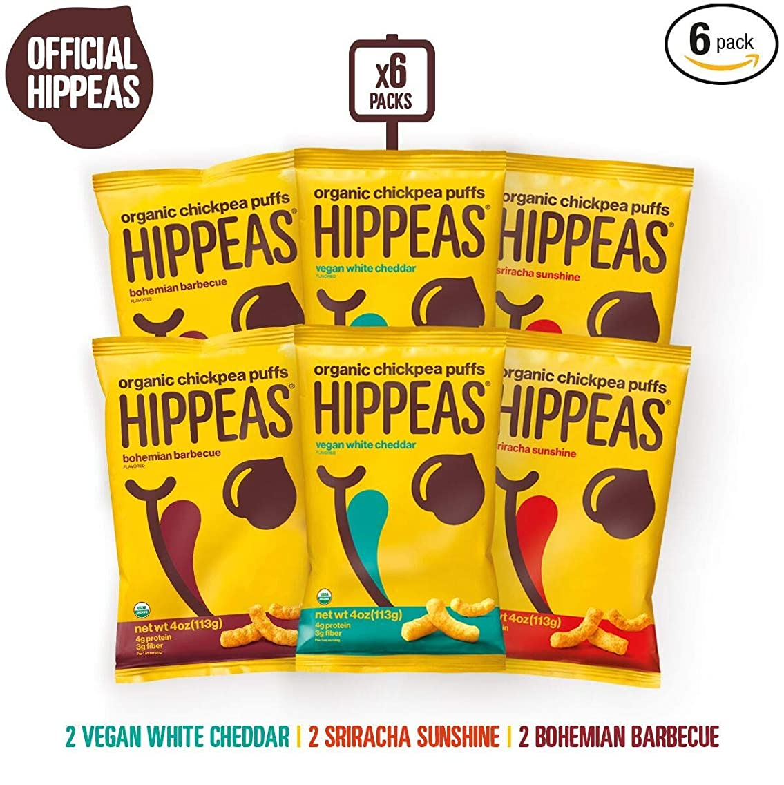 HIPPEAS Organic Chickpea Puffs + Variety Pack | 4 ounce, 6 count | Vegan, Gluten-Free, Crunchy, Protein Snacks