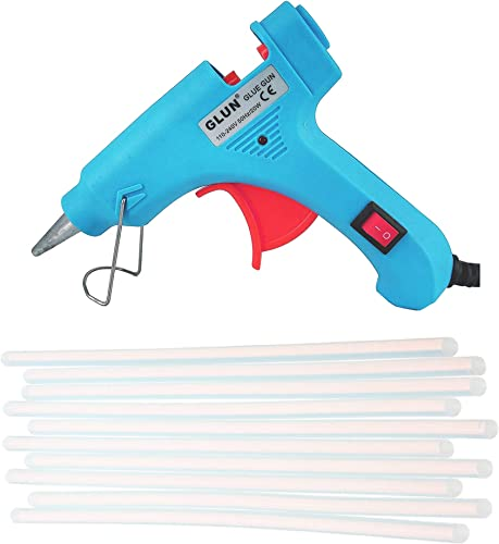 GLUN Glue Gun 20W Turquoise with 10 Transparent Sticks Standard Temperature Wired 7 mm