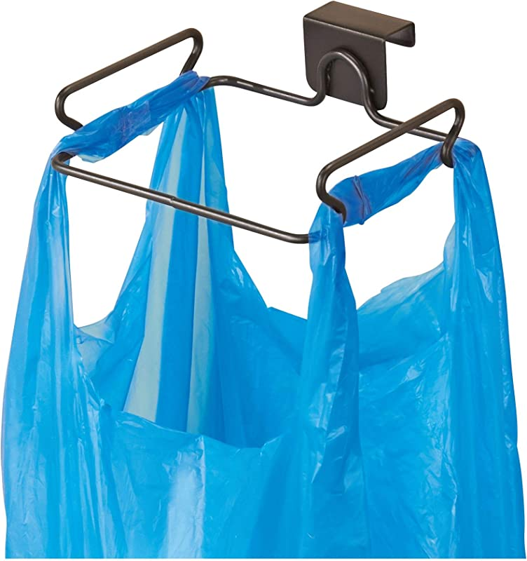 IDesign Classico Steel Over The Cabinet Plastic Bag Holder For Kitchen Pantry Bathroom Dorm Room Office Bronze