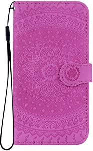 Reevermap Samsung Galaxy A40 Case Leather  Protective Wallet Flip Embossed Mandala Premium Kickstand Magnetic Buckle Notebook Cover for Samsung Galaxy A40  Purple