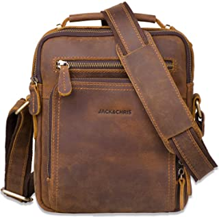 Leather Messenger Bag for Men,Jack&Chris Man Purse Crossbody Bags for Work Business (Brown), JC5207-8
